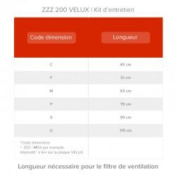 Longueur nécessaire de filtre de ventilation selon le code dimension